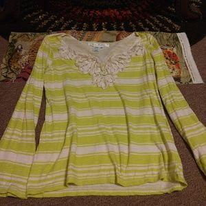 Max Studio Lime Green/Beige Stripe Shirt M